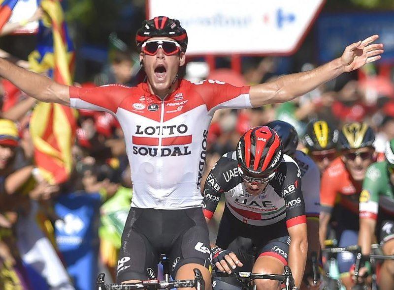 """Vuelta, etapa 18 – Pelotão """"descuida-se"""" e Jelle Wallays aproveita."""